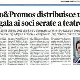 Euro&Promos; distribuisce utili e regala ai soci serate a teatro.
