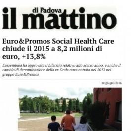 Euro&Promos; Social Health Care chiude il 2015 a 8,2 milioni di euro, +13,8%
